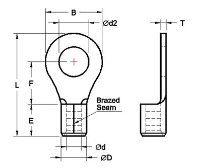 Non-Insulated Ring Terminals(Brazed Seam)